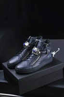 New Arrivals Brand Luxury Famous Brand Men Sneakers,Fashion Genuine Leather Casual High Top Shoes Black Blue Plus Size 38-44