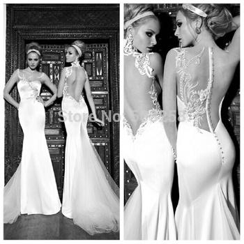 Dwd21 галя Lahav два стиль назад свадебное платье мода русалка атласная 2015 свадебное платье