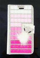 2015 Brand Luxury Rhinestone Crystal Jewelry Sexy Lip Lipstick Fox FurLeather Case Cover For Samsung Galaxy S3 S4 S5