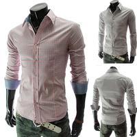 New Stylish Plaid Single Breasted Long Sleeve Mens Shirt 5038