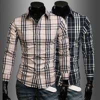 Plaid New Man European Fashion Slim Fit Long Sleeve Wind Shirt 7605-P35