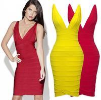 Hot Selling 2014 New European Fashion Summer Women Elegant Slim V-Neck Celebrity Bandage Bodycon Sexy Club Party Evening Dresses