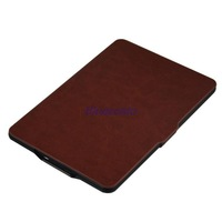 2015 Smart Kindle PU Leather Case sleep function Slim Flip Cover For Amazon Kindle Paperwhite 1 2 3 case, Brown/black/Red