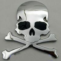 Hot sale 3D Car Sticker Aluminum Cool High Quality Metal Skull Design Human Skeleton Car Decoration Free shipping