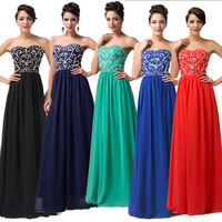 2015 Cheap Floor length Embroidery Formal Evening Prom dress Stock Long Bandage dress Celebrity Party Gown Birthday Ball 6050