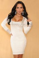 vestido de festa White Pleated Studded Long Sleeves Dress autumn dress winter dress women dress roupas femininas rivet WFD013
