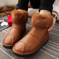 Women's winter snow boots fashion ladies warm PU leather shoes size 35-39 black boot flat heels female hot sale cheap shoe 4