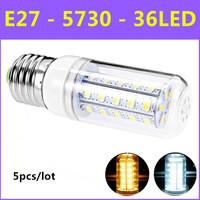 5pcs/lot  2014 Ultrabright SMD 5730 Energy Saving LED Lamp E27 10W 240V 36leds Warm White/White Corn Bulb Christmas Lights
