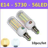 Ultrabright SMD 5730 Energy Saving LED Lamp E14 12W AC 220V-240V 56LED Warm White/White Corn Bulb Lights Free Shipping 10pcs/lot