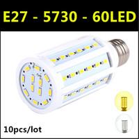 2014 Ultrabright SMD 5730 LED Lamp E27 60led 15W AC220V-240V Warm White/White Corn Bulb Light For Christmas decoration 10pcs/lot