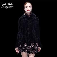 Winter Women's Genuine Real Natural Mink Fur Coat Long SleevesImport Overcoat Whole Peel Fox Fur Coat High-Grade Cappa Fur Coat
