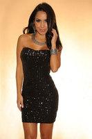 2014 New Black Sequined Strapless Club Dress LC2685 bodycon women dress party evening elegant vestidos women dress WFD007
