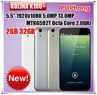 "Ceular KOLINA K100+ Cell Phone WCDMA 5.5"" 1920x1080 Screen MTK6592 Octa Core 2GB RAM 32GB ROM 5.0MP 13.0MP Bluetooth WIFI GPRS"