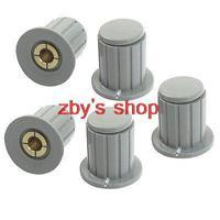 5pcs Volume Control 4mm Split Shaft Diameter Potentiometer Knobs Gray