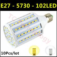 Hot Ultrabright SMD 5730 E27 LED Lamp 30W 102led AC220V-240V Warm White/White Corn Bulb Light For Christmas decoration 10pcs/lot