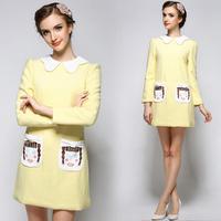High Quality New Woman Cute Peter Pan Collar Woolen Winter Straight Yellow Pocket Dress Vestidos de Fista Plus Size S-XL SJY750