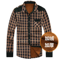 Autumn and winter thickening thermal male plaid shirt male casual long-sleeve plus velvet sanded shirt men's clothing