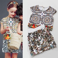 Girls clothing sets Design retro clothes + Sequined skirts two-piece suit children casual conjunto kids clothes suit skirt HB071