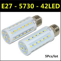 Ultrabright SMD 5730 LED Lamp E27 42leds AC220V-240V 12W Warm White/White Corn Bulb Light For Christmas decoration 5pcs/lot