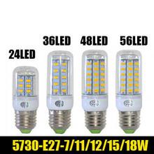 1pcs High power and energy-saving SMD5730 7W/11W/12W/15W/18W E27 220V24/36/48/56LED 5730 Led corn light bulbStripes cover(China (Mainland))