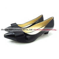 2015 New Fashion Lady's Pumps Shoes 35mm Wedges Smooth Pointed Toe High Heels PU Leather Black/Apricot Color Sexy Women Shoes