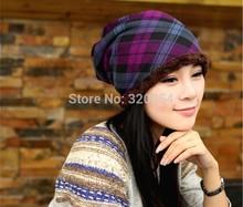 1 Pcs 2014 New Winter Warm Knitted Cap Fashion Women Grid Add Wool Hat 3 Colors Free Shipping(China (Mainland))
