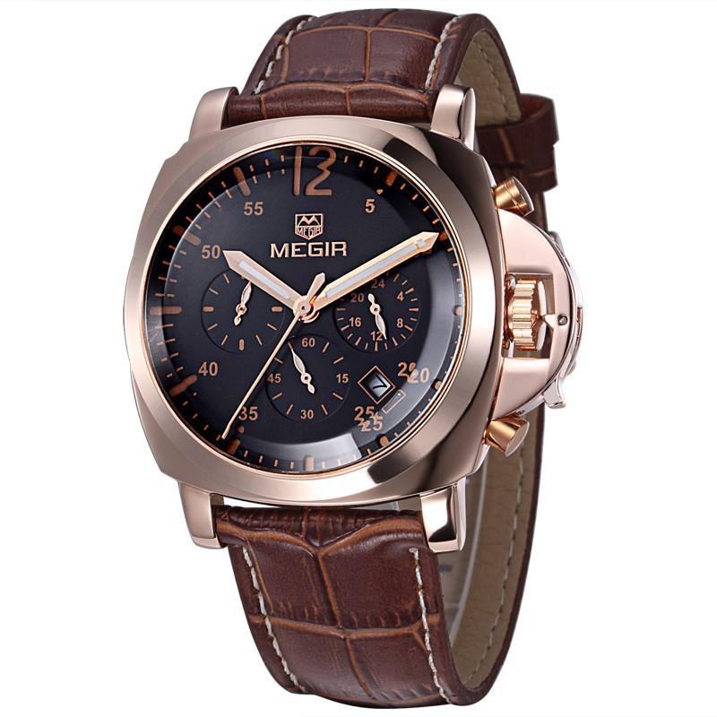 MEGIR Genuine Leather Luxury Men Watches Chronograph 6 Hands 24 Hours Function Men Top Brand Military Watch Relogio Masculino(China (Mainland))