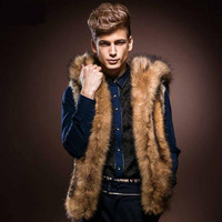 High Quality Men'S Clothing 2014 Autumn Winter New Men's Luxury Fashion Plush Men Fur Vest Hooded Brown Slim Warm Fur Coat