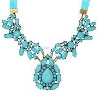 Min. order is $9(mix order) New bohemian blue gems flower short necklace for women