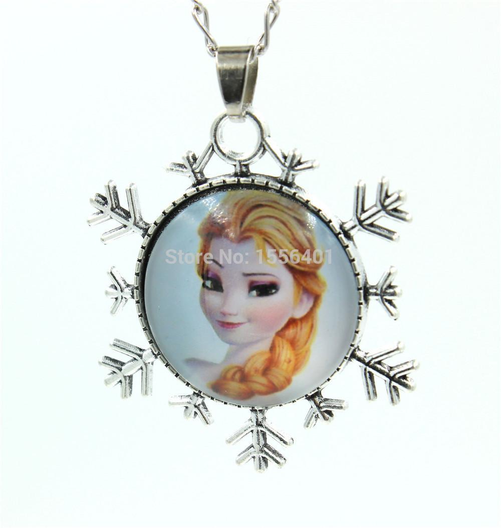 Snowflake Chain Necklace Princess Pendant Flatback Rhinestone Cabochon Cartoon Girls Jewelry Decoration Dress 48cm(China (Mainland))