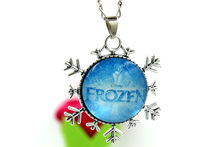 Snowflake Chain Necklace Princess Pendant Flatback Rhinestone Cabochon Cartoon Girls Jewelry Decoration Dress 48cm