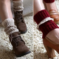 New Winter Knit Boot Cuffs Lace Short Leg Warmers for Women Accessories Beige Red#EC074