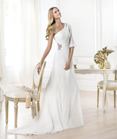 Greek wind inclined shoulder chiffon fold cultivate one's morality wedding dress gy087