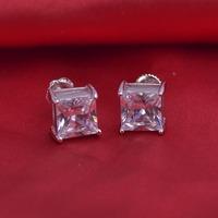 LSE941Stud Earrings 925 sterling silver ScrewBack earrings stone 8mm, free shipping