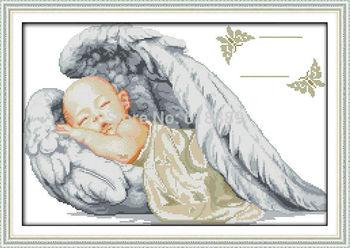 Маленький ангел свидетельство о рождении счетный крест вышивка крестом DMC вышивки крестом DIY вышивки крестом Kit вышивка для домашнего декора рукоделие
