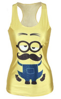 Sale New Film Despicable Me Women Bustier Crop Top Women's Tanks Top Samll Yellow Man Ladies Strap Blouse Camisole Crochet Top