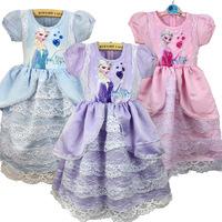 New frozen ice Elsa & Anna romance female's long sleeved dress Girl Princess dress party costume dress