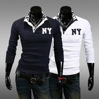 New men's casual long-sleeved T shirt fashion POLO shirt 198