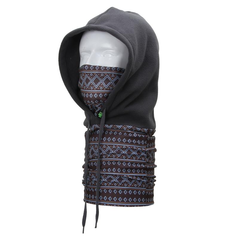 Versatile Polyester Fleece Prismatic Geometry Pattern Bib Outdoor Balaclavas Skiing cycling Gray Winter Hat Caps Face Mask Scarf(China (Mainland))