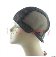 Free Shipping Jewish Base lace wig caps for making wigs Glueless full lace Wig Caps 10pcs/lot Adjustable Strap On the Back