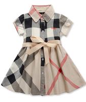 3-10Yrs Baby Gilrs Plaid Dress New 2015 100%cotton Brand High quality Fashion Uk Princess Dresses Children Girls Casual Dress