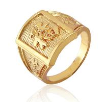 2015 men's fashion brand new crystal ring 18K gold jewelry gift TOP big (made) (Fuk) Kanji Ring R815 (Order Notes)