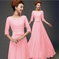 Custom 2015 Floor Length Lace Evening Dress Sweetheart Chiffon Long Prom Dress Formal Elegant Gown Party Dress vestido de renda