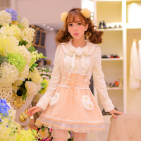 Princess sweet lolita dress Candy rain new original Japanese style Cute lovely pink lace bow embroidery Wool Braces dress  CR03