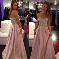 2014 New Sexy Sweetheart Crystals Long Evening Dress Formal Dress Party Evening Elegant Prom Dresses Custom Made EV0192