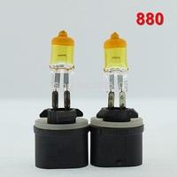 One Pair 880 Halogen Bulb Yellow Quartz Glass 12V 27W Car Headlight & Fog lamp Universal Waterproof Free Shipping ^^KKK