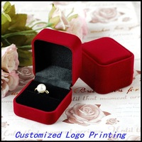 6pcs/Lot 5.8x5.0x4.0cm Red Velvet Cover  Jewelry Ring Show Display Storage Box Gift Case Customized Logo Printing