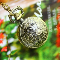 High quality dropship for male female antique quartz with long chain bronze pocket watch necklace