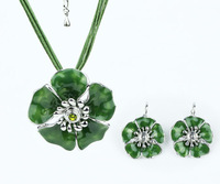 Top Quality Alloy Flower Enamel Fashion jewelry set Women's Party gift Necklace and earrings set Gifts A024