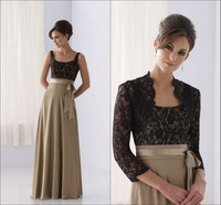 2014 Vintage Square Neckline Floor Length Mother Of The Bride Dresses With Lace Bolero 3/4 Sleeves Plus Size Available